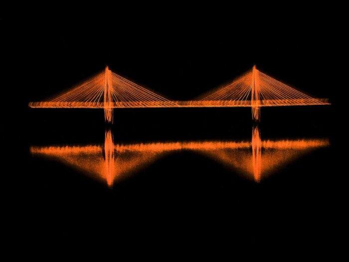 15.  Charleston's Ravenel Bridge captured at just the right moment by Becky. It looks as if it's floating above the water.
