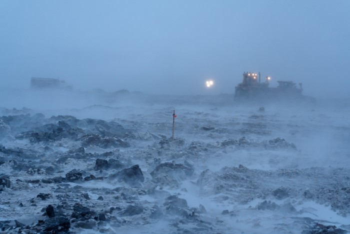 5) Working outdoors in these stormy conditions; the work day doesn't always stop for the weather up here in Alaska.