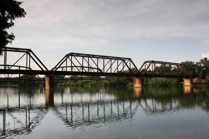 5) The mighty Brazos River, spanning 840 miles, runs underneath the Union Pacific Railroad Bridge in Waco, TX.