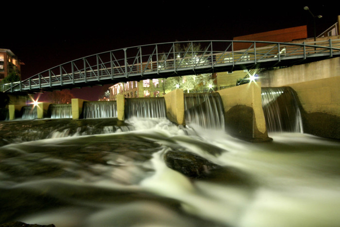 """12. Justin, the photographer, has titled this one, """"Night Sky and Running Water"""". What an amazing shot of the rushing water from the dams in Greenville."""