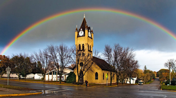1. This church is glowing under a full spectrum rainbow in Pelican Rapids.