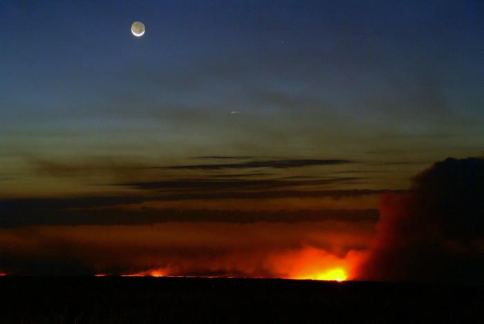 15. Everglades fires seen at dusk