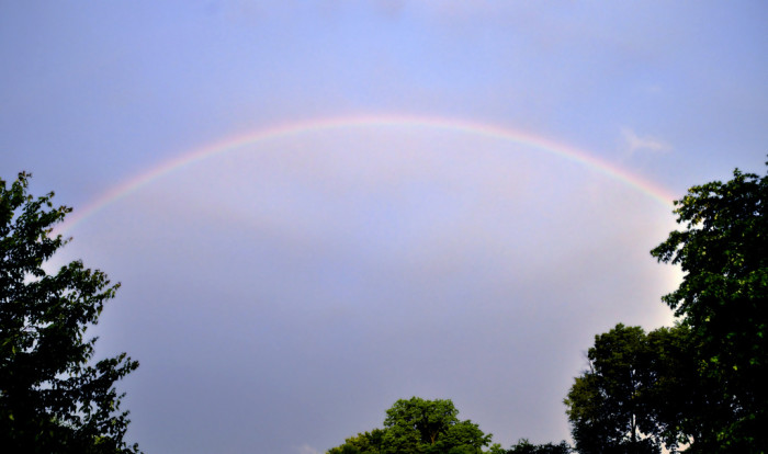 1. Very subtle picture of a rainbow taken somewhere in the Hoosier sky.