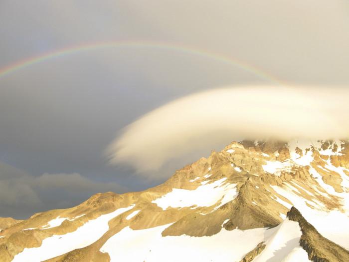 2) A rainbow over Mt. Hood.