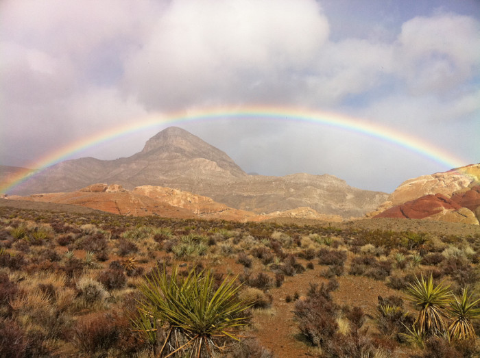 1. This magnificent rainbow is stretching across Red Rock Canyon. So BEAUTIFUL!!!