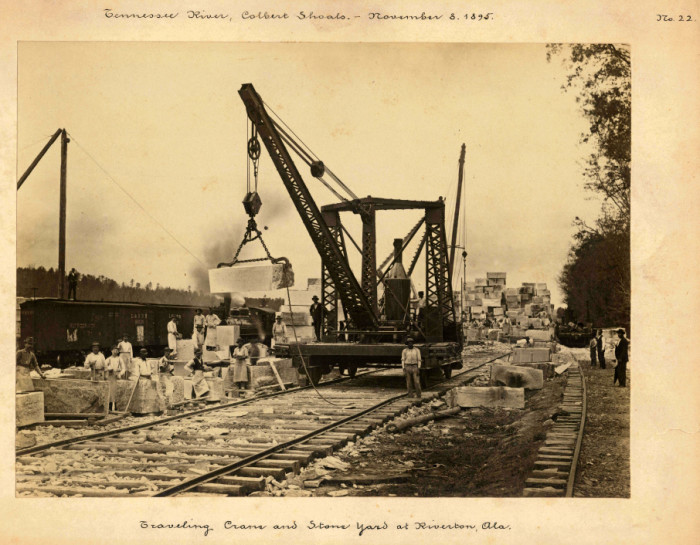 7. A graveling crane and stone yard in Riverton, Alabama. It's supporting the Colbert Shoals Canal project on November 8, 1895.