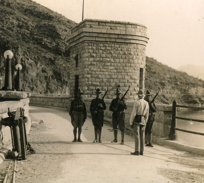 8. Here's another look at Roosevelt Dam in 1917, this time with guards on patrol. I wonder what for?
