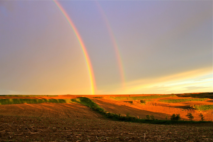 7. This double rainbow across cornfield in Western Iowa is absolutely radiant.