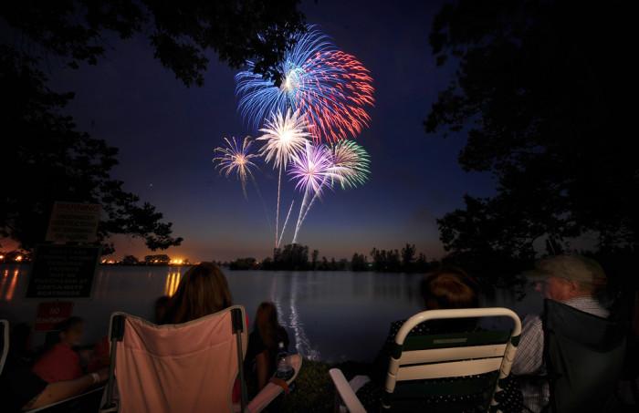 8. Spectacular summer fireworks light up the night sky at Offutt's base lake.