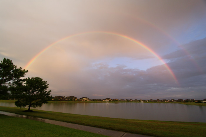 11) Look at this magnificent double rainbow over a lake in Cypress, TX! Just gorgeous!