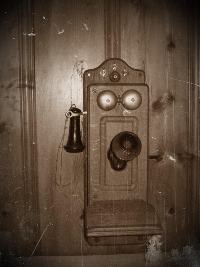 6.Kellogg Wooden wall phone, early 1900's.