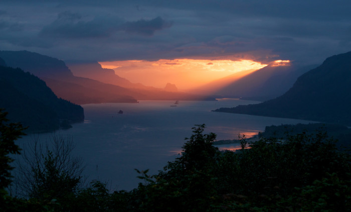 6) A sunrise in the Columbia River Gorge.
