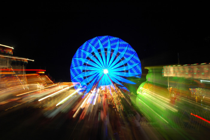 4. This is a nice blurred picture of the Indiana State Fair. The picture wouldn't be nearly as incredible during the day because there wouldn't be any lights!