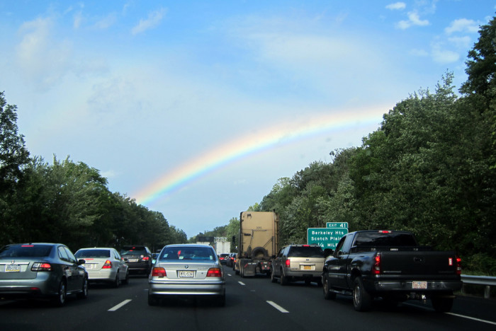 6. It's not fun to be stuck in traffic, but at least these drivers have a decent view. Taken near Berkeley Heights.