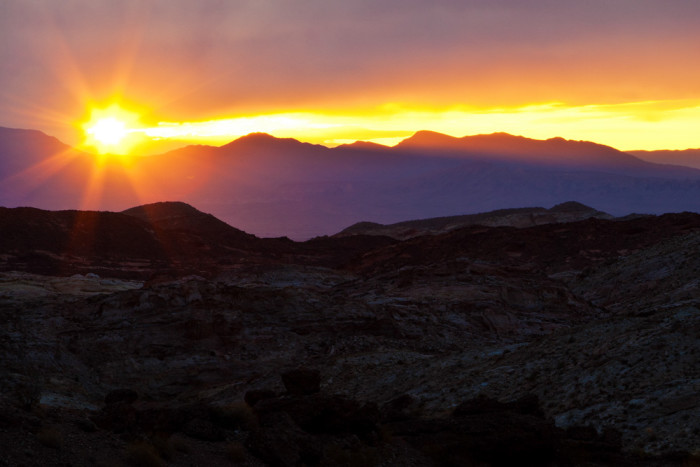 7. A beautiful sunrise in Overton at the Valley of Fire State Park.