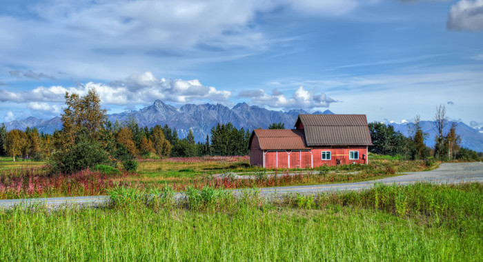 8) Old red barn in Wasilla.