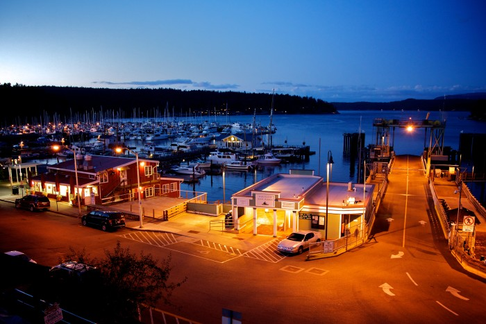 12. Friday Harbor on San Juan Island at dusk.