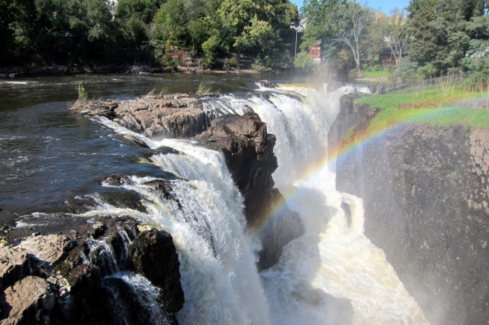 10. No clouds are needed to create a stunning rainbow over the Great Falls in Paterson.