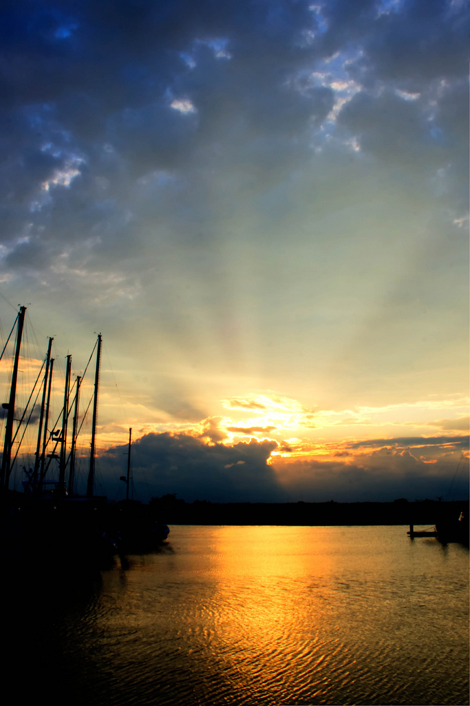 12. Heavenly Sunset over Marina Historic District in Brunswick, Georgia.