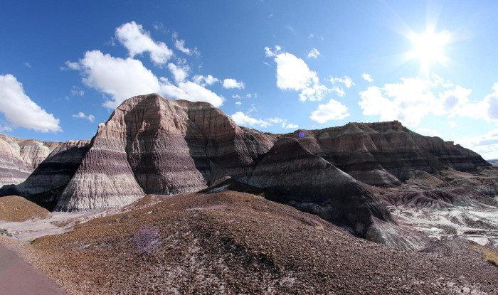 9. The sun creates a dramatic look for the Painted Desert here.