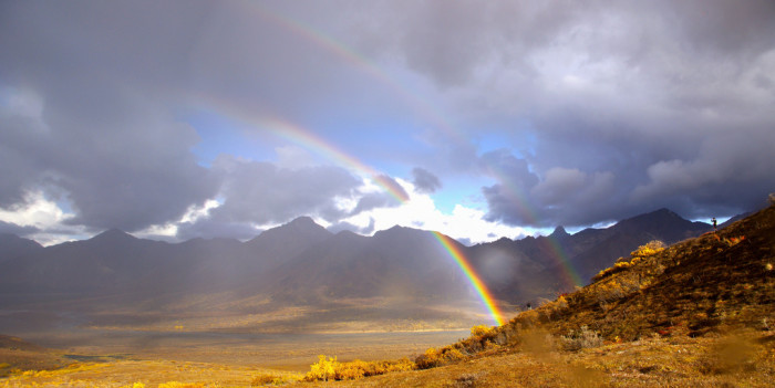 7) Hiking through Denali National Park can get a little stormy, but look at this beauty!