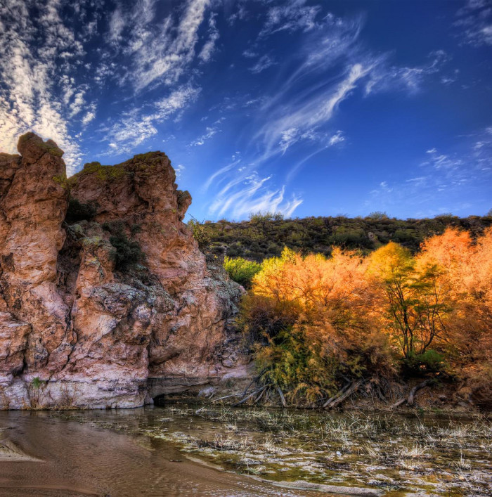 5. Miles away, the Hassayampa River occasionally flows above the surface parallel to the Agua Fria and is known for its influence on the similarly named wilderness area and preserve.