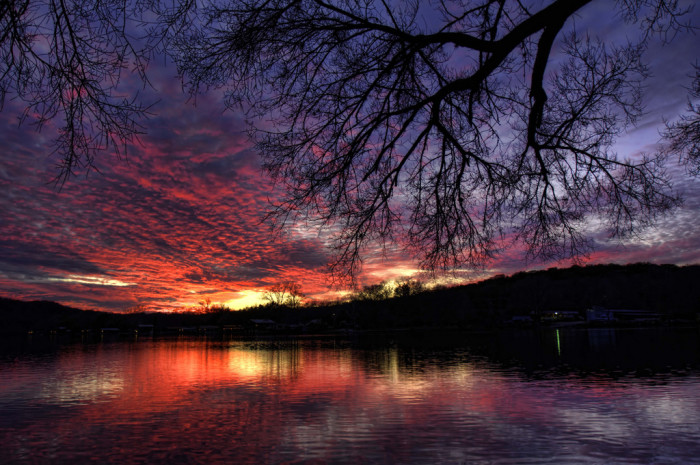 11) A spectacular capture of a winter sunset over Lake Austin!