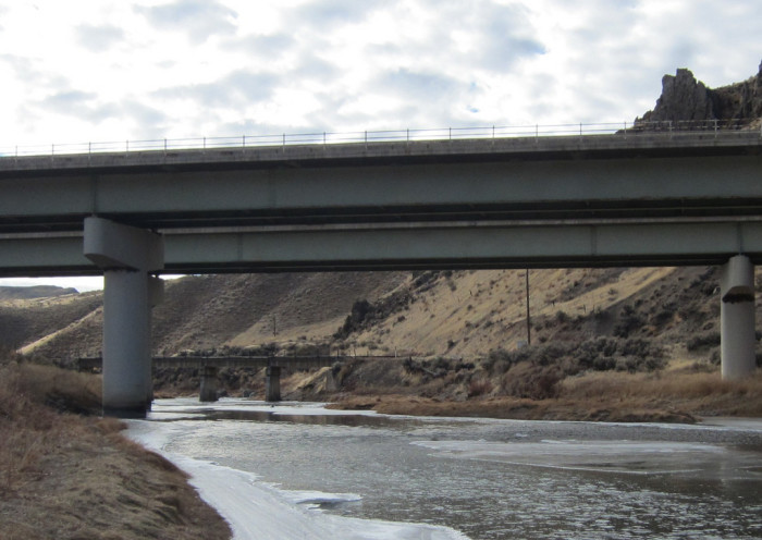 4. A railroad bridge over the Humboldt River in Carlin Canyon.