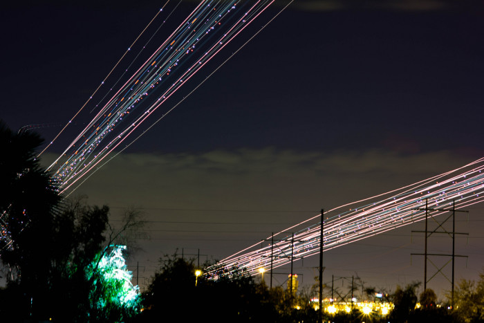 2. If you ever wondered what trails from airplanes would look like, they kind of look like fiber optic lights!