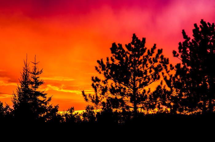 3) This fiery sky in Waterbury.