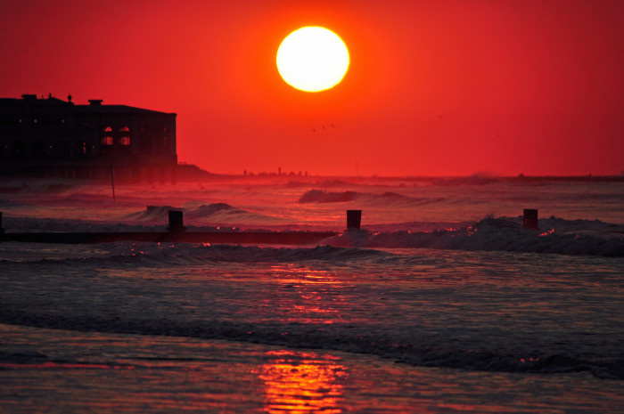 9. The sky is on fire in this shot of Ocean City.