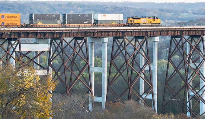 7. Chuck Hackenmiller snapped this photo of a Union Pacific train passing over the Des Moines River Valley near Ogden.