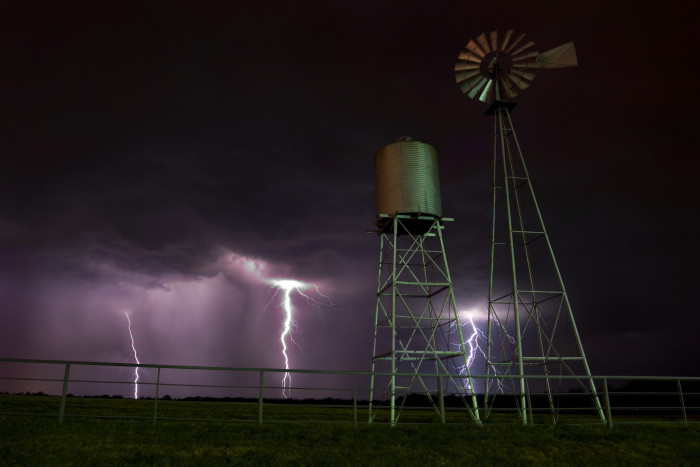 10) Jeremy Weber captures this amazing shot of triple lightning strikes in Mount Pleasant, Texas!