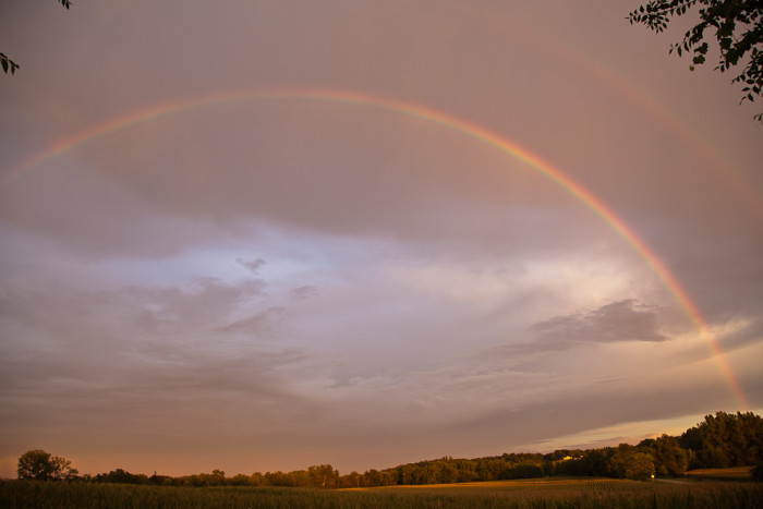 9. Another gorgeous double rainbow after a storm near dusk.