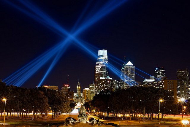 """6. The """"Open Air' art project in Philadelphia sent striking lakers through the sky."""
