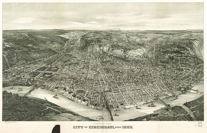 5. Ariel view of Cincinnati, OH (Circa 1900)