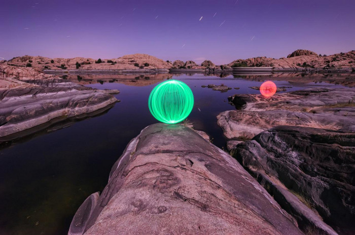 16. How do you think he was able to create the different colored spheres at Willow Lake?