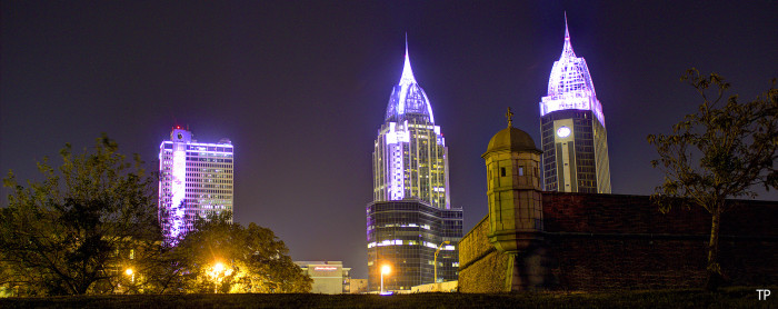 6. A fantastic view of the Mobile skyline from Fort Conde Village.