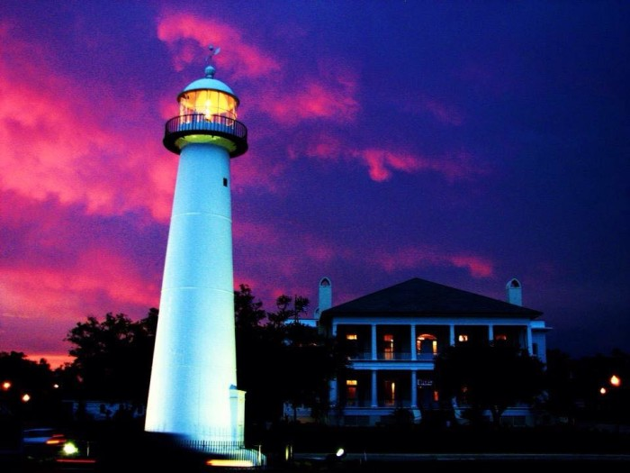 8. The well-known landmark, the Biloxi lighthouse, really pops with the dazzling hues of the sky as its backdrop.