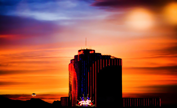 12. This dramatic sunset surrounds the Rio in Las Vegas.