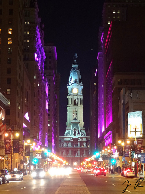 3. The Avenue of the Arts in Philadelphia is lit up with fluorescent colors.