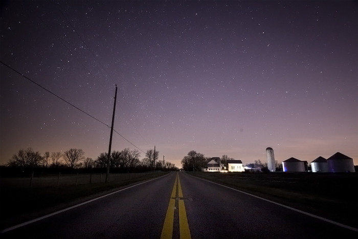 4. Country road near Columbus at night during the 2014 Geminid meteor shower