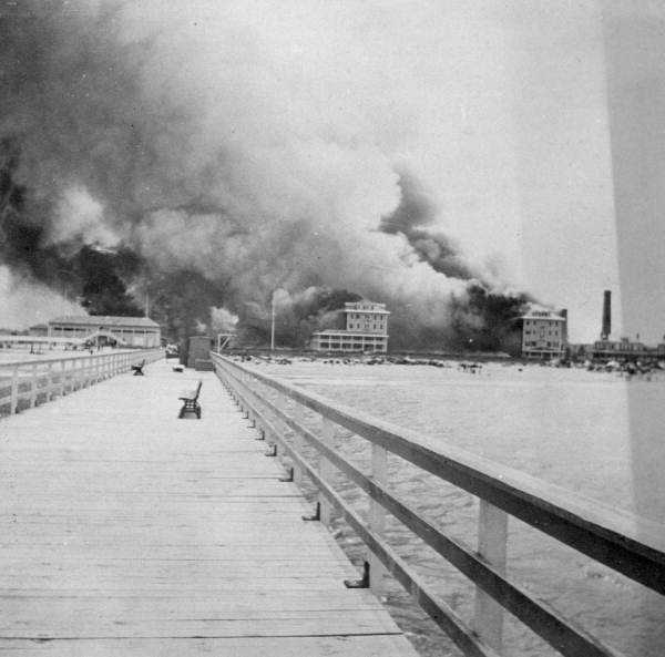 The Breakers Hotel on Fire, Palm Beach, 1903