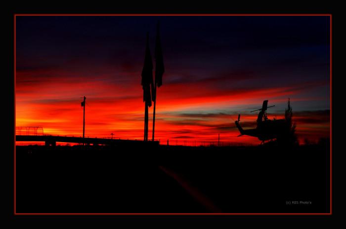 10) Beautiful winter sunrise at the Vietnam War Memorial in Cool, Texas.