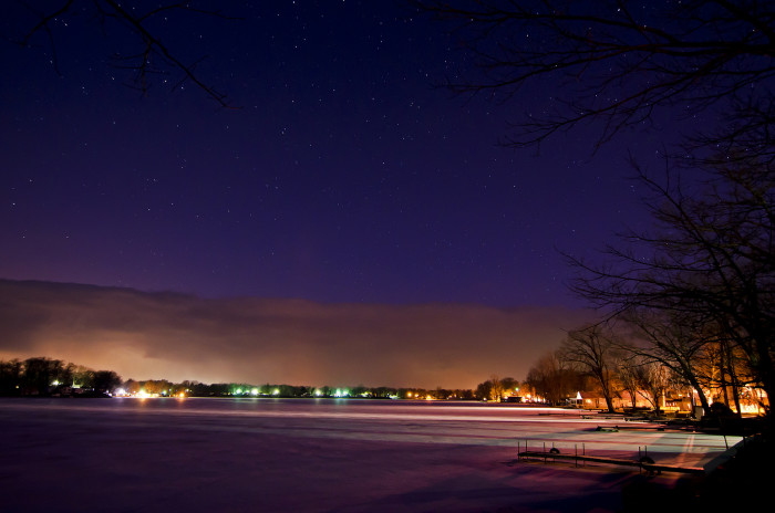 1. This picture was taken at roughly 5AM by the photographer in La Porte County. You can see a snow storm making its way across the horizon as it slowly masks the stars. Incredible!