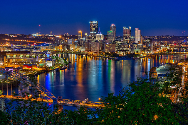 2. Pittsburgh is a gorgeous city, made even more striking by its lights reflecting off the river.