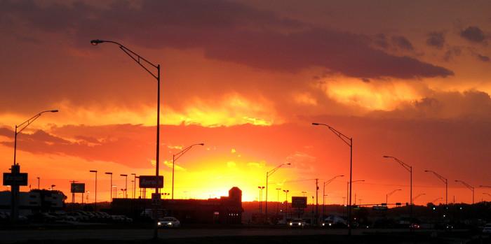 20. An explosive sunset lights up the sky over Norfolk.