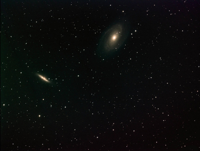 11. The galaxies M-81 and M-82 are shining against the starry background. This amazing photo was taken with a 14-inch telescope at the Marshall Space Flight Center in Huntsville, Alabama.