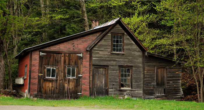 6) This patched and rustic building made out of every material in sight.