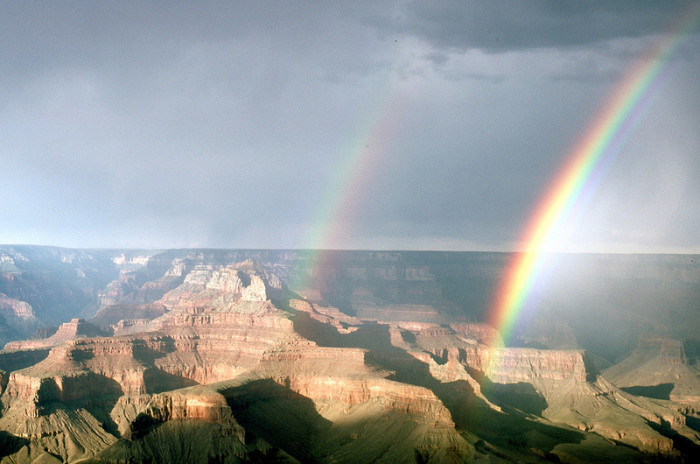 1. Here's a look at a beautiful double rainbow just over the Grand Canyon. So pretty!